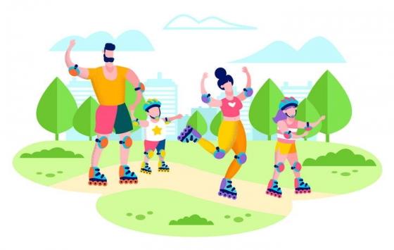 扁平插画风格正在玩轮滑的一家四口郊游旅游图片免抠素材