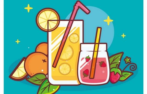 手绘卡通风格水果茶饮料橙汁草莓汁免抠矢量图片素材