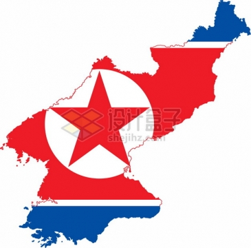 印有国旗图案的朝鲜地图png图片素材