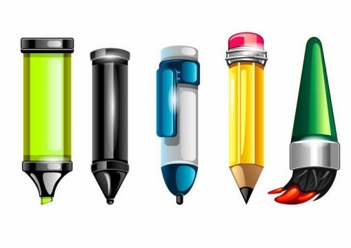 卡通风格的水彩笔画笔铅笔png图片免抠矢量素材
