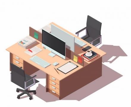 2.5D风格办公室办公桌办公位电脑和座椅png图片免抠矢量素材