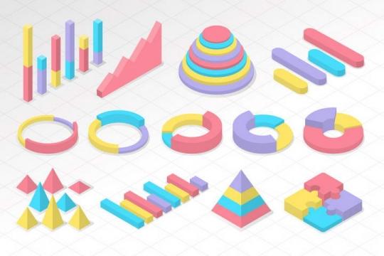 糖果色立体风格数据饼形图柱形图曲线图图表图片免抠素材