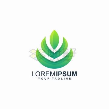 抽象绿色树叶嫩芽农业环保公司logo设计png图片免抠矢量素材