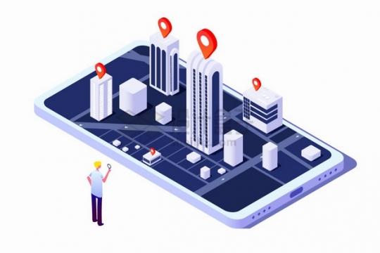 2.5D风格手机上的城市模型3D地图导航APP应用png图片素材