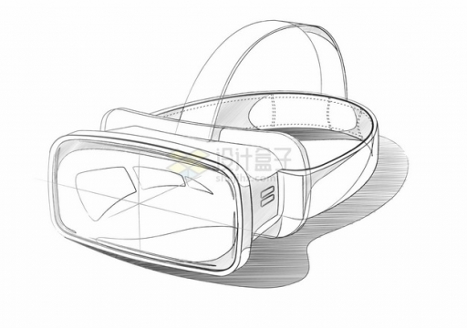 线条素描风格VR眼镜虚拟现实技术3D头盔554915png图片素材