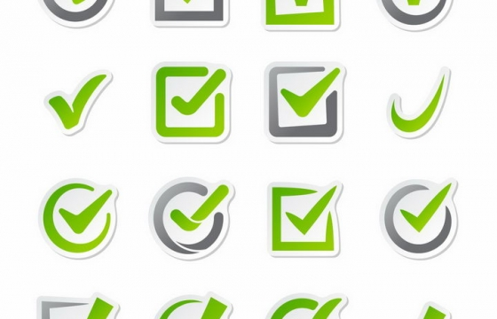 16款绿色对号标签贴纸png图片免抠矢量素材