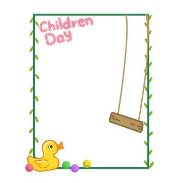手绘卡通涂鸦风格小鸭子装饰绿色树枝边框图片免抠素材