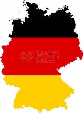印有国旗图案的德国地图png图片素材