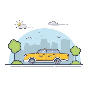 MBE风格出租汽车图片免抠矢量图素材