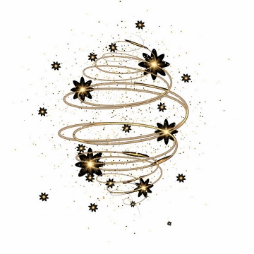 金色发光螺旋线条装饰png图片免抠矢量素材