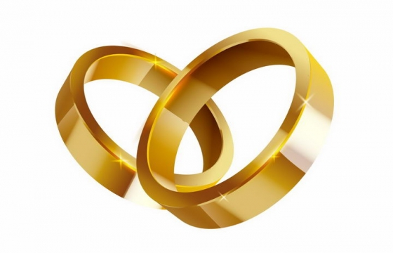 简约没有装饰的结婚黄金戒指png图片免抠矢量素材