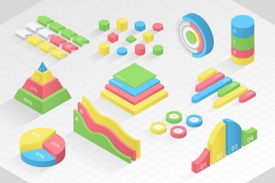 糖果色立体风格数据曲线图饼形图柱形图箭头图表图片免抠素材