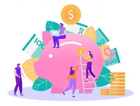扁平插画风格正在往储钱罐中投币金融理财类配图图片免抠素材