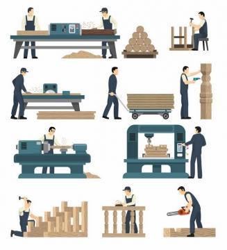 扁平插画风格在使用各种木材加工机械的木工工人png图片免抠矢量素材