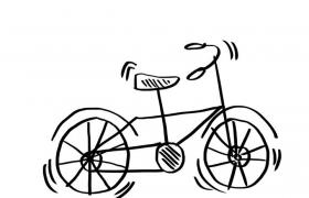 手绘涂鸦风格线条自行车简笔画免抠矢量图片素材