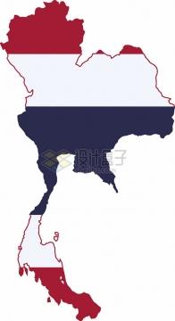 印有国旗图案的泰国地图png图片素材