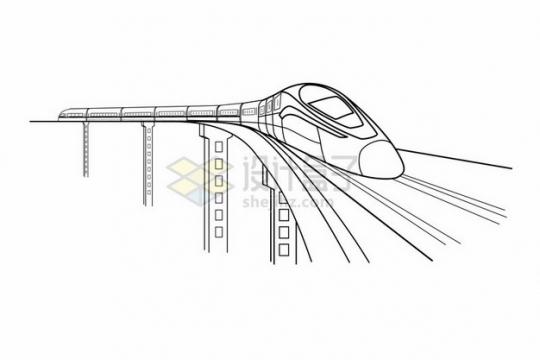 高架桥上的高铁列车线条插画182549png图片素材