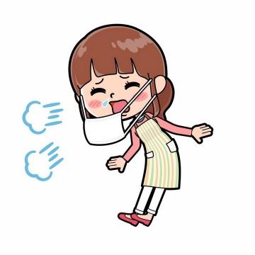 戴口罩打喷嚏感冒的卡通女孩png图片免抠矢量素材