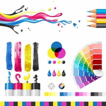 CMYK色值表颜料画笔RGB颜色表png图片免抠eps矢量素材