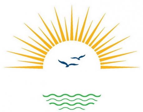 简约太阳光芒海鸥和海水图案图片免抠素材