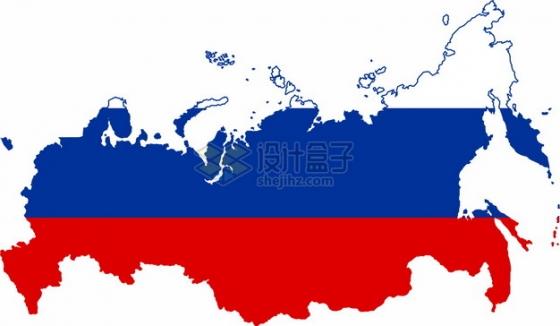 印有国旗图案的俄罗斯地图png图片素材