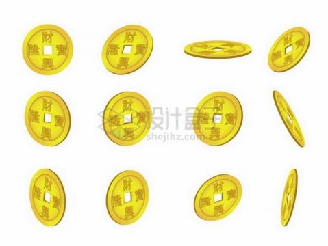 12种不同角度的招财进宝3D铜钱金币png图片免抠矢量素材