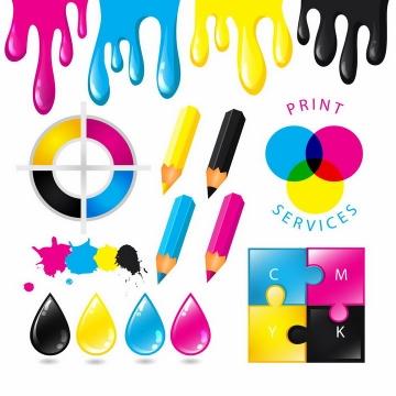 CMYK色值表颜料画笔液滴RGB颜色表png图片免抠eps矢量素材