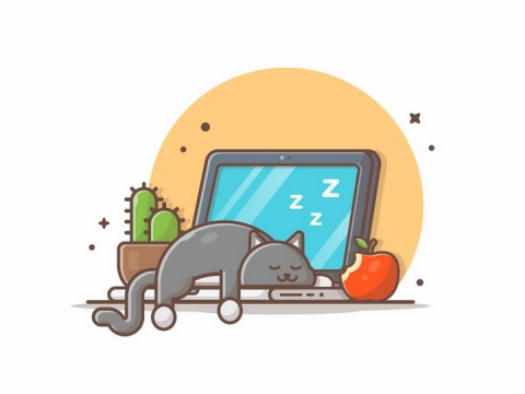 MBE风格趴在笔记本电脑上睡觉的猫咪狸花猫png图片免抠矢量素材