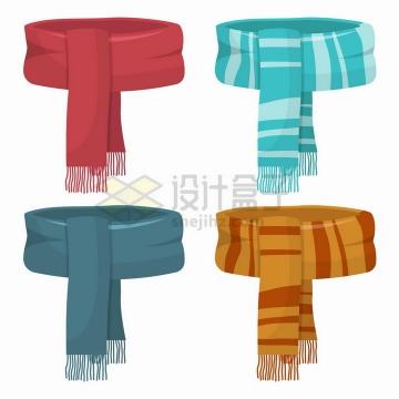 4款不同花纹和颜色的围脖围巾png图片免抠矢量素材