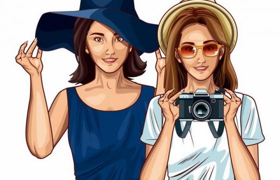 两个戴着草帽的美女拿着照相机正在拍照png图片免抠矢量素材