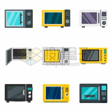 9款扁平化风格微波炉厨房小家电png图片素材