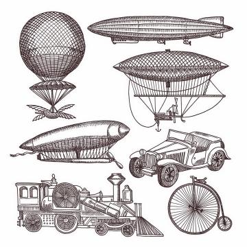 各种手绘素描风格19世纪的热气球飞艇火车汽车等png图片免抠矢量素材