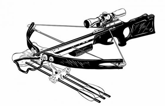 黑白手绘风格的弩弓强弩弩枪冷兵器武器png图片免抠矢量素材