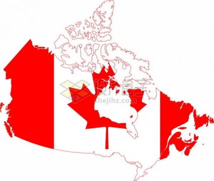 印有国旗图案的加拿大地图png图片素材