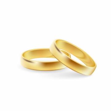 两只结婚黄金戒指结婚用品png图片免抠矢量素材