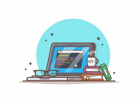 MBE风格卡通笔记本电脑和书本png图片免抠矢量素材