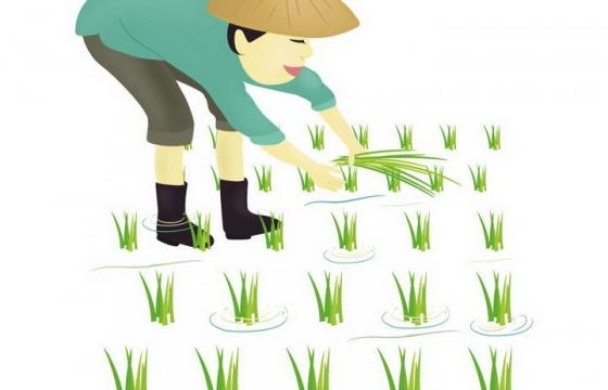 手绘风格戴斗笠插秧的农民图片免抠素材