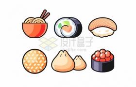面条寿司包子麻团鱼子酱等卡通美食223118png矢量图片素材