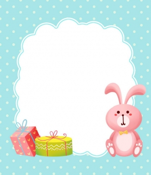手绘卡通生日礼物粉色小兔子装饰儿童节边框文本框图片免抠素材