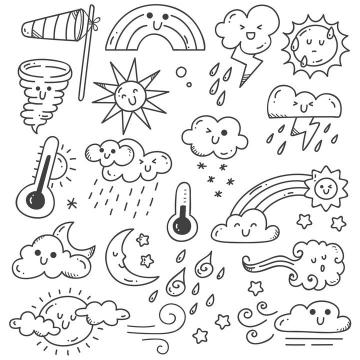 各种手绘线条龙卷风彩虹太阳闪电高温低温多云等天气简笔画图片免抠矢量素材