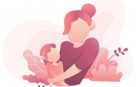 卡通插画风格母女母亲节免抠矢量图片素材