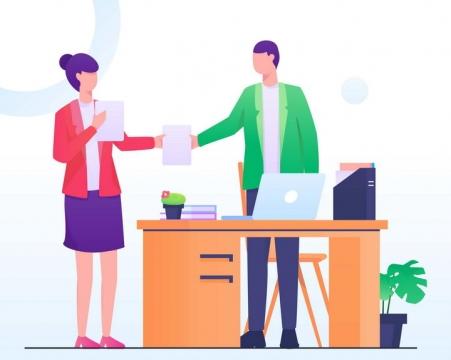 扁平插画风格正在和同事交换文件的商务人士图片免抠矢量图素材