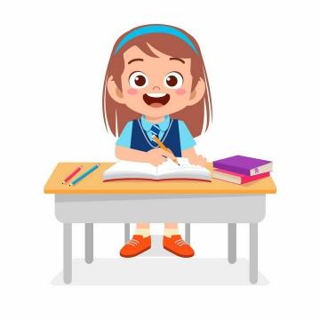 上课认真听讲记笔记的卡通小女孩png图片免抠矢量素材