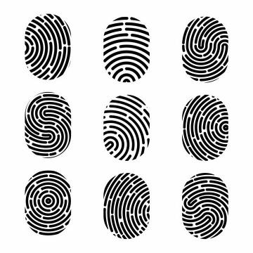 9款黑色椭圆形指纹纹理图案png图片免抠eps矢量素材