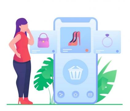 扁平插画风格正在用手机购物的女孩图片免抠矢量图素材