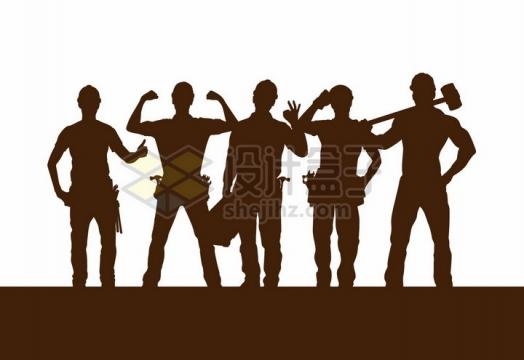 一群拿着工具的工人剪影五一劳动节png图片免抠矢量素材