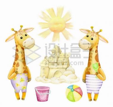 彩绘儿童画风格太阳卡通长颈鹿沙雕png图片免抠矢量素材