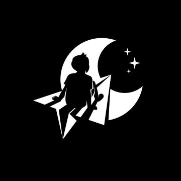 黑白色男孩坐在纸飞机上飞向月球实现他的梦想logo设计方案png图片免抠eps矢量素材
