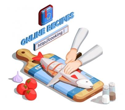 2.5D风格展板寿司等切菜厨房用品图片免抠素材