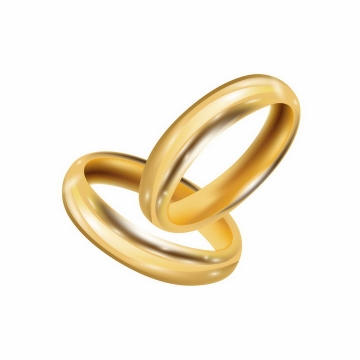 两只光滑反光的结婚黄金戒指婚礼用品png图片免抠矢量素材